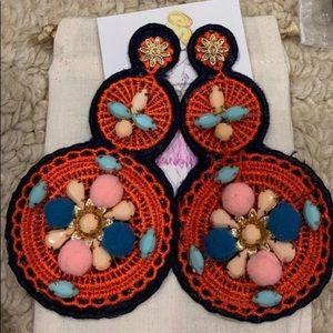 Red Pom Pom Statement Earrings NWT